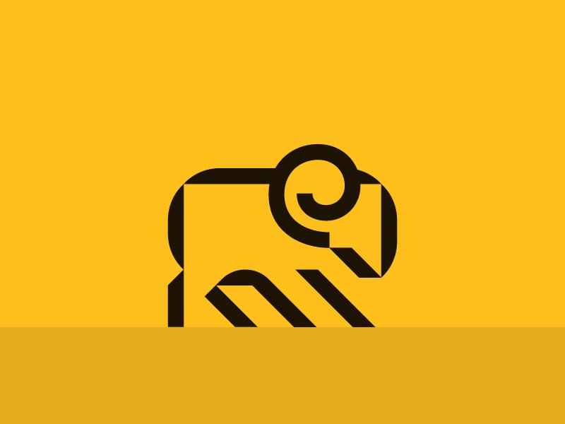 Ram yellow horn gold fleece ram icon brand mark logo identity
