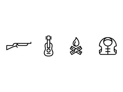 survival cabin sports camp camping fire life jacket vest gun nra forest focus lab guitar rock n roll icon icons wayfinding signage