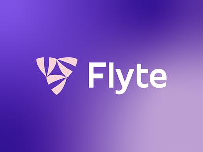 Flyte 🚀 web flight flyte propeller logo identity brand mark blue launch data illustration plane triangle purple