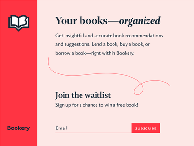 Bookery email icon library book red web identity typography mark brand logo