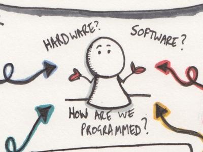 Human Software - How are we programmed? training sales talk creative digital meetup sketchnote doodle