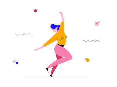 Stress Relief abstract flat vector illustation line girl woman dance