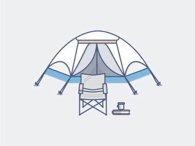 Camping outline outdoor vector icon solid coffee book tent camp