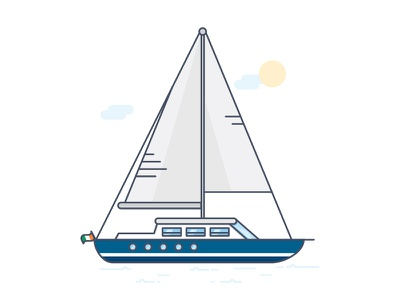 Sailboat ireland travel sea icon vector outline sailboat