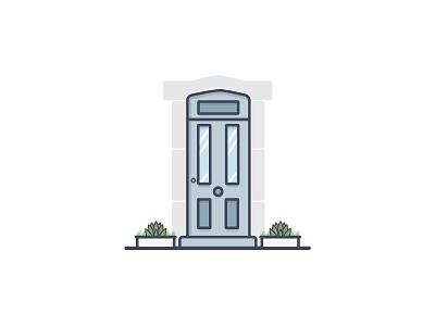 The Doors Of Dublin Series plant door dublin ireland flat outline vector icon illustration