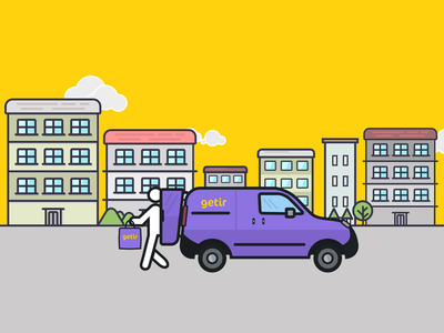 Getir delivery icon ux ui turkey purple mobile line getir character app vector outline icon