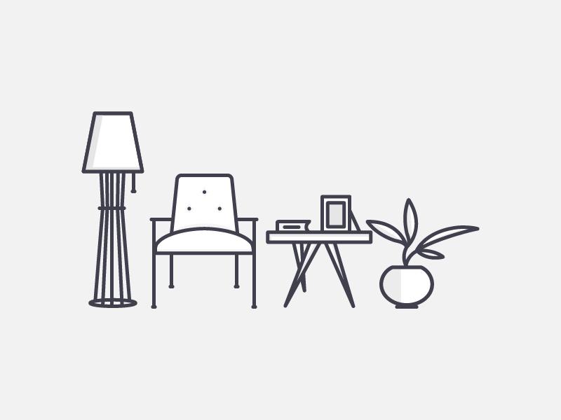 Living Room retro room armchair light plant illustration vector outline icon