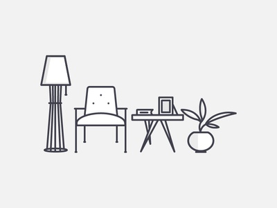 Living Room retro room armchair light plant illustration vector outline icon