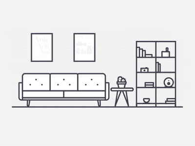 Office Environments vintage table speaker bookcase sofa furniture illustration vector outline icon