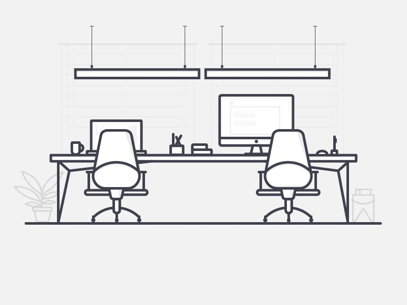 Workspace imac apple chairs workspace table office illustration vector outline icon