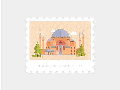 Hagia Sophia, Istanbul landmark stamp illustration hagiasophia istanbul