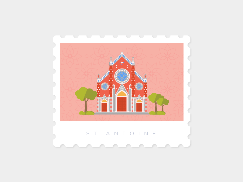 Saint Antuan Church, Istanbul saintantuan landmark illustration stamp istanbul church