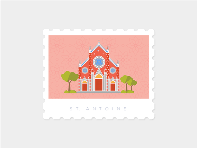 Saint Antuan Church, Istanbul saintantuan landmark illustration stamp istanbul church