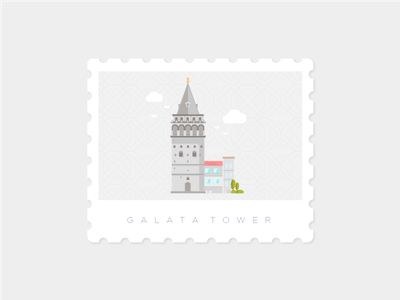 Galata Tower, Istanbul stamp landmark illustration istanbul galatatower