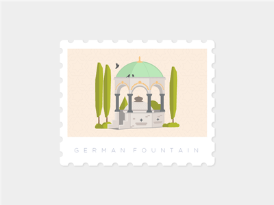German Fountain, Istanbul stamp landmark illustration istanbul germanfountain