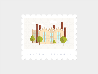 Santralistanbul, Istanbul stamp landmark illustration istanbul santralistanbul