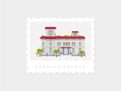 Khedive Palace, Istanbul stamp illustration landmark istanbul khedivepalace