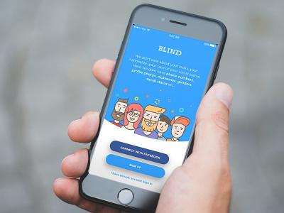 BlindID friends social character ui application app illustration onboarding