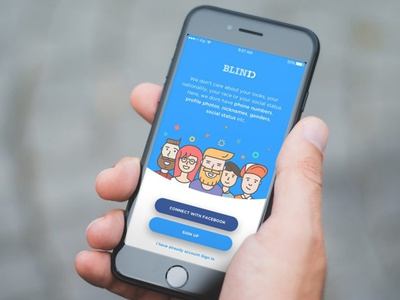 BlindID friends social character ui application app illustration onboarding