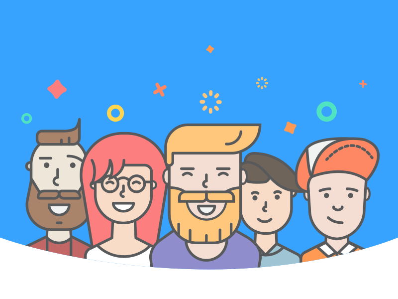 Login illustration for BlindID social app ui onboarding beard illustration hipster characters
