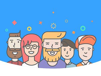 Login illustration for BlindID social app ui onboarding beard illustration hipster characters