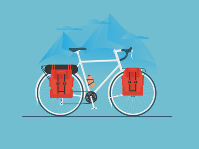 Adventure Cycling travel camping flat illustration mountains road ride cycling cycle bicycle bike