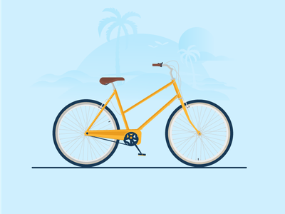 Beach Bike palm trees beach vector flat illustration bike bicycle