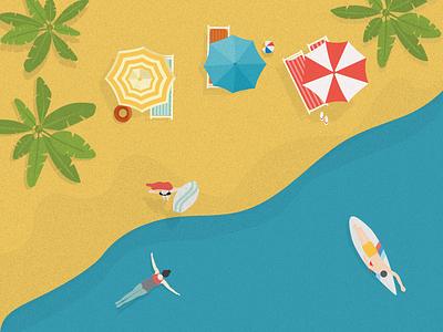 Beach Day ☀️ umbrella beach ball palm swim surfing illustration holiday