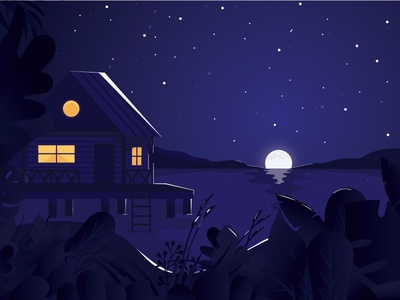 Lake House mountains plants design vector twilight moon illustration cabin house lake