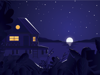 Lake House mountains plants design vector twilight moon illustration cabin house lake