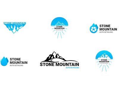 Logo Design drops mobile logo wash car detailing auto mountain stone