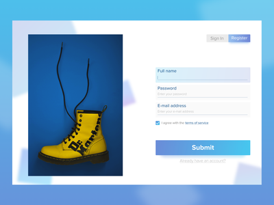 Sign Up Page - Daily UI Challenge #001 debut dr martens ux branding web ui dailyui ui ux design uidesign modal page sign in page register page sign up page daily ui challenge dailyui 001