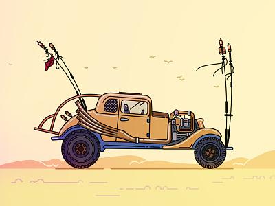 The Nux Car movie road fury illustration art flat car max mad