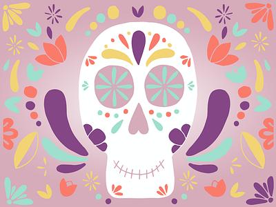 Sugar Skull skulls flower pattern minimal flat design flat vector design illustration art illustration