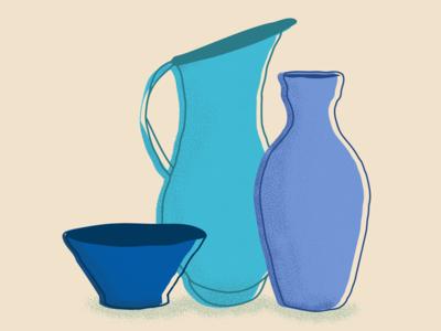 Pottery still life illustrator branding ceramics pottery creative minimal flat pattern design vector illustration design