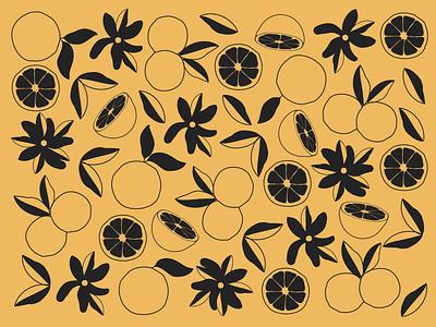 Feeling like Summer flowers design branding minimal orange oranges botanical vector pattern design flat pattern illustration