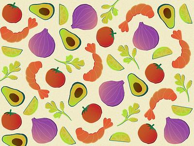 Ceviche pattern inspired by dinner summer pattern art pattern of the day pattern motifs motif illustrator illustration art illustration vegetables food