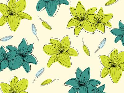 Lily flowers botanicals flowers lily pattern of the day pattern art motifs motif pattern design pattern illustrators illustration art illustration