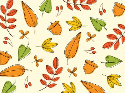 Autumn Leaves thanksgiving fall autumn leaves vector pattern design flat pattern illustration