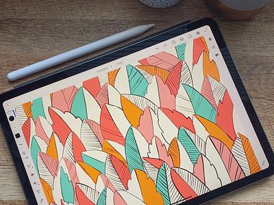 Spring Vibes leaves botanical floral flat pattern design pattern illustration spring