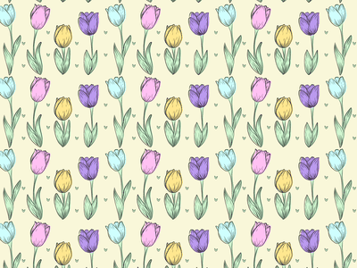 Tulips adobe floral minimal botanical vector pattern design illustration flat springtime pattern flowers tulilps spring