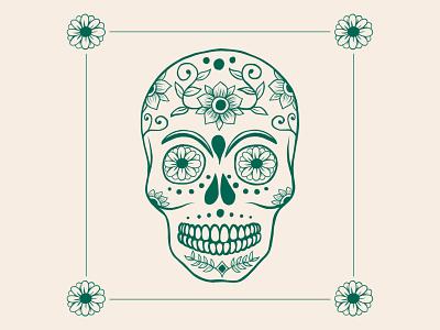 Sugar Skull botanical vector pattern design illustration flat bones skeleton sugar skull