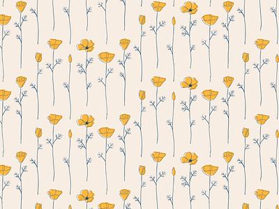 California Poppy elegant modern pattern surface design california poppy flower seamless pattern