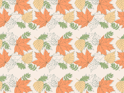 Fall Vibes thanksgiving halloween november october digital illustration vector artwork autumn leaves fall pattern seamless pattern