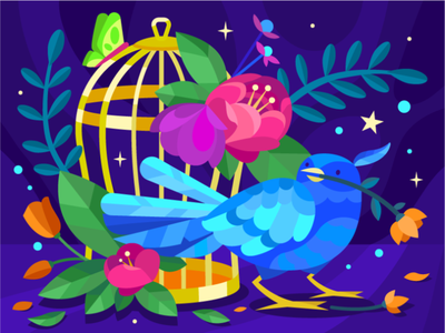 Bird on the cage design butterfly illustraion flower night mobilegame cage bird colloring book gallerythegame