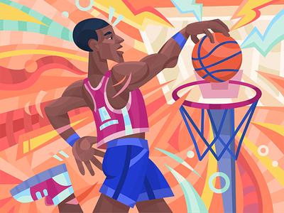 Basketball player move winner illustration man jump game ball player basketball color