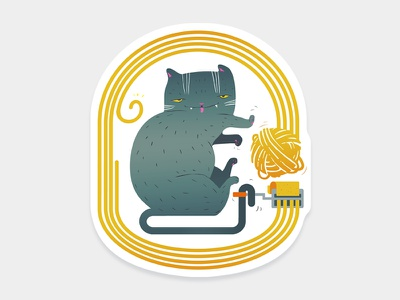 Gattasta Sticker sticker pasta noodle machine italy illustration gatto cat