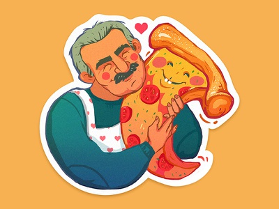 Papa Vinny illustration vinny sticker family food love pizza
