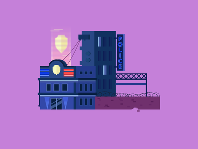 Cyberpunk police house building illustraion vector city police cyberpunk