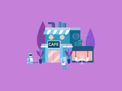 Cyberpunk cafe